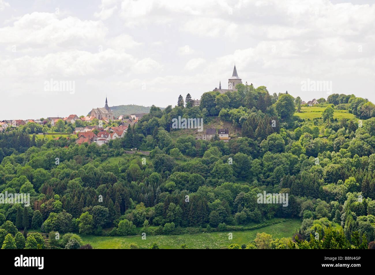 City view, church, Ober Marsberg, Marsberg, Sauerland, North Rhine-Westphalia, Germany, Europe Stock Photo