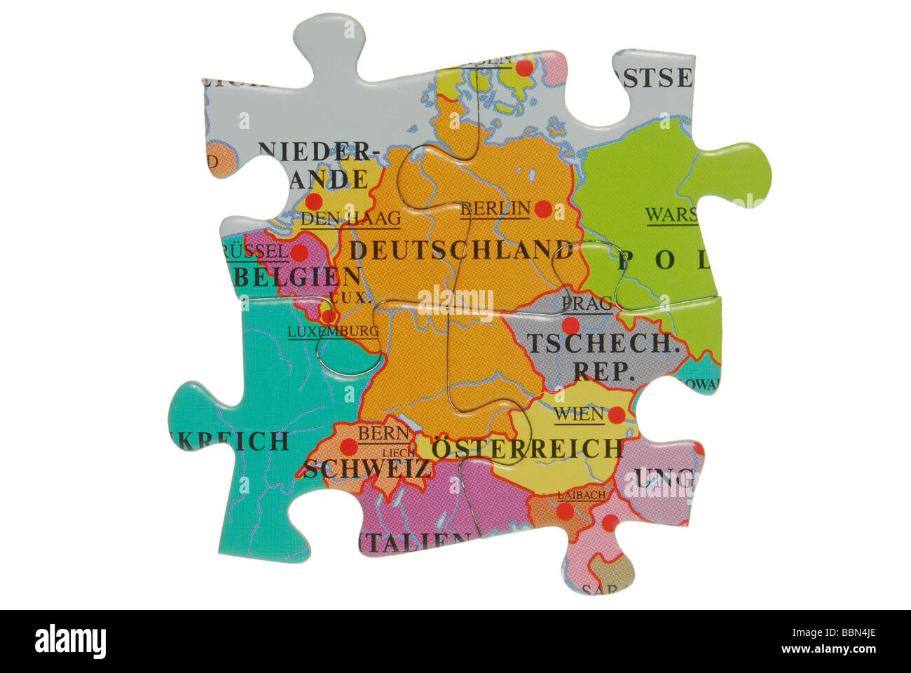 Map Of Germany With Neighbouring Countries.Four Puzzle Pieces Of Germany And Its Neighbors Stock Photo