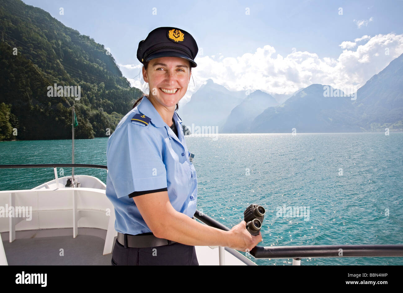 Ship's captain of a passenger motor vessel on Lake Lucerne, Switzerland, Europe - Stock Image