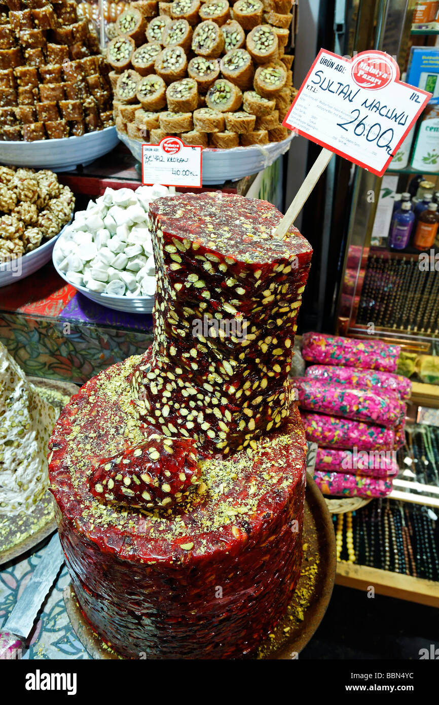 Halva sweets with pistachios in shape of a tower, sliced open, Egyptian Bazaar, Spice Bazaar, Bazaar District, Istanbul, - Stock Image