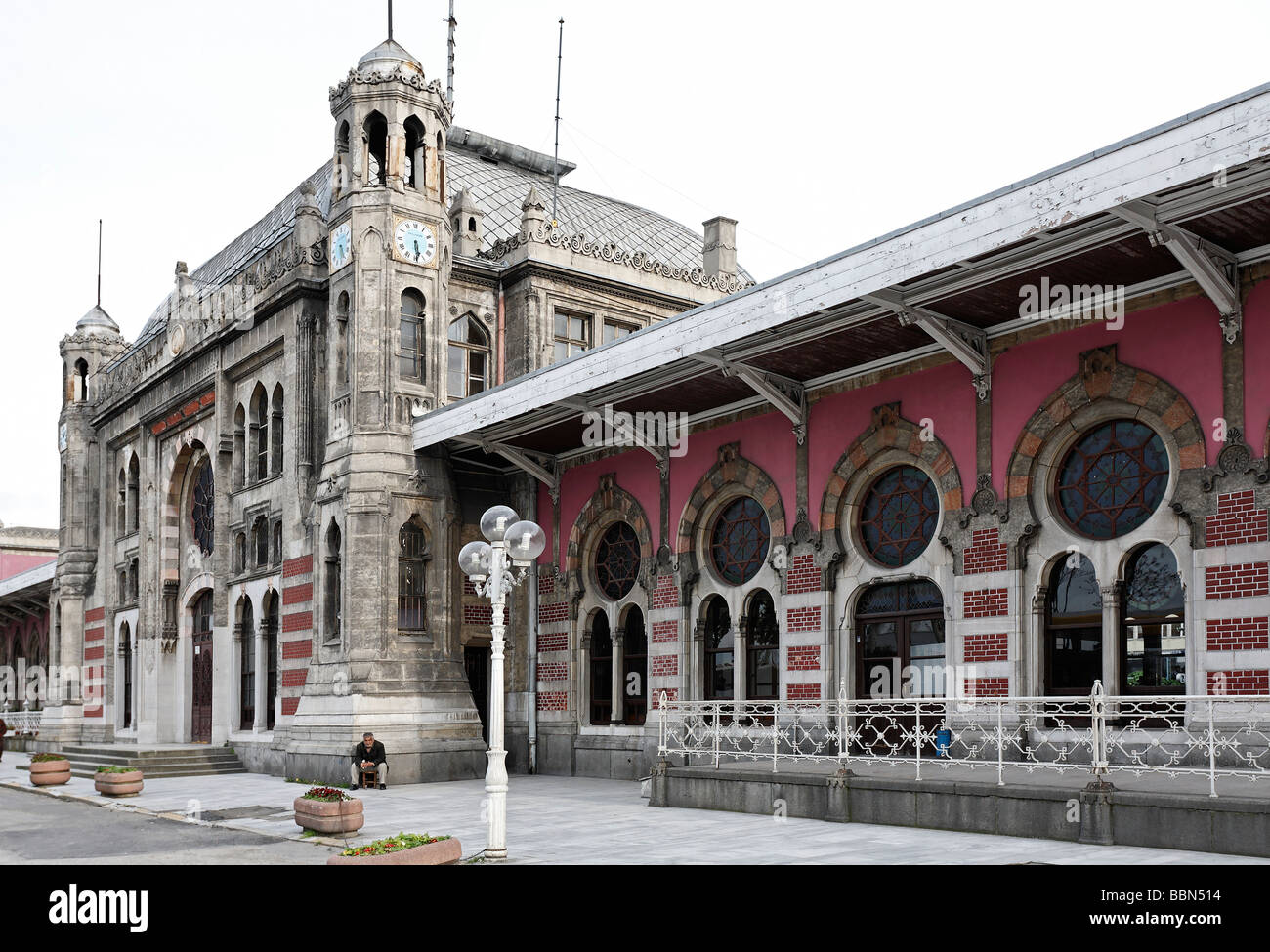 Sirkeci railway Station, Ottoman art nouveau building, former terminal stop of the Orient Express, Istanbul, Turkey - Stock Image