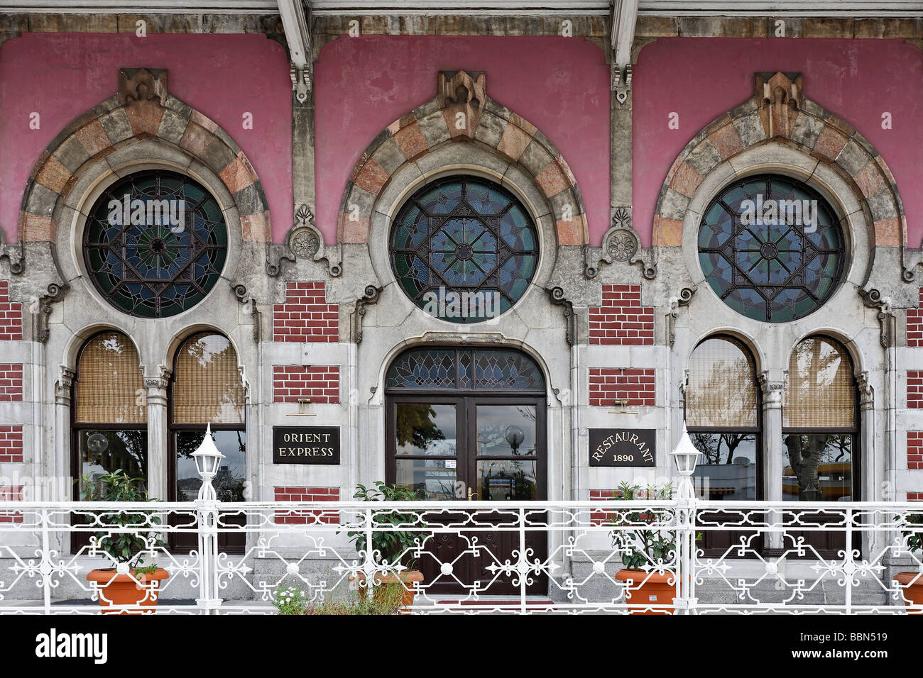 Orient Express Restaurant, historic Sirkeci Train Station, Ottoman art nouveau building, Istanbul, Turkey - Stock Image