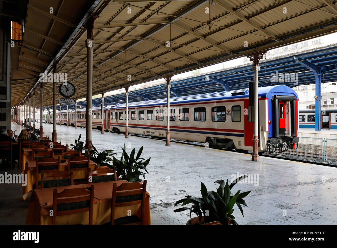 Historical Sirkeci Train Station, platform with train, Istanbul, Turkey - Stock Image