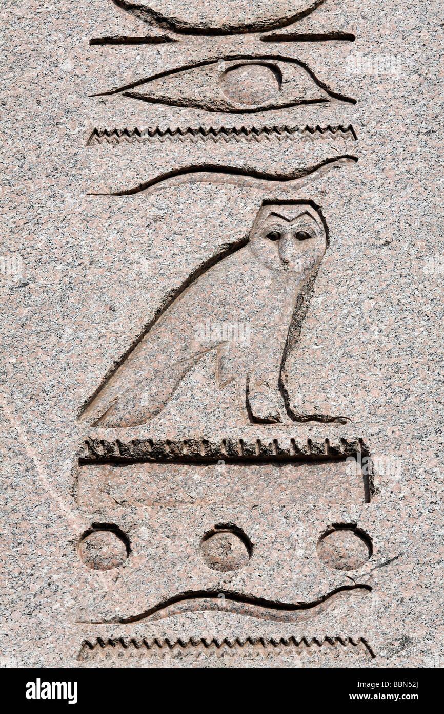 Horus-falcon, hieroglyph relief on the Egyptian obelisk, ancient Byzantine Hippodrome, Sultanahmet, Istanbul, Turkey - Stock Image