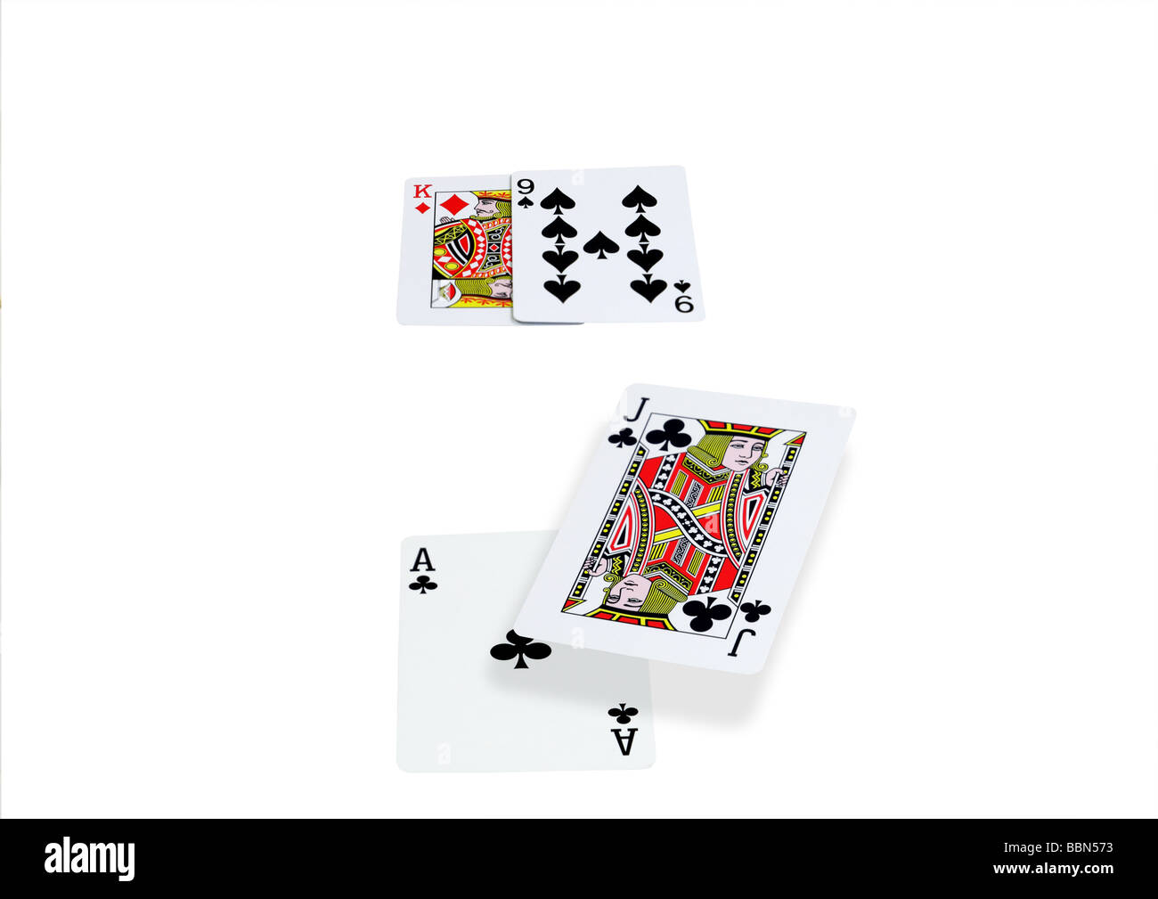 Blackjack hand isolated on black showing a winning combination Stock Photo