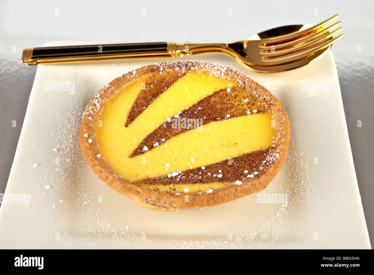 Custard tart small on a white plate dusted with caster sugar - Stock Image