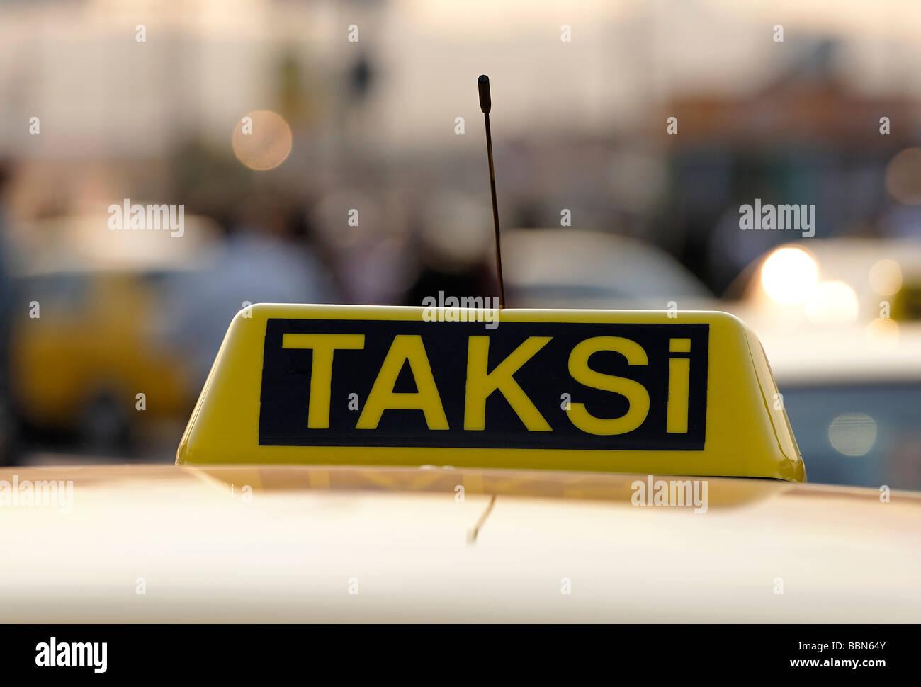 Turkish taxi sign on a car, Taksi, Eminoenue, Istanbul, Turkey - Stock Image