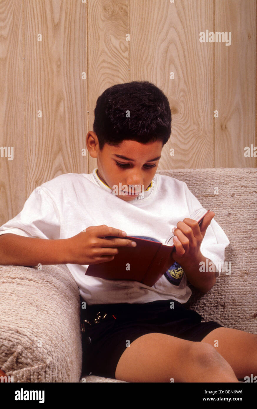 Attractive Hispanic Latin Boy Read Book Engross Concentrate Attention Deep Serious    Stock Image