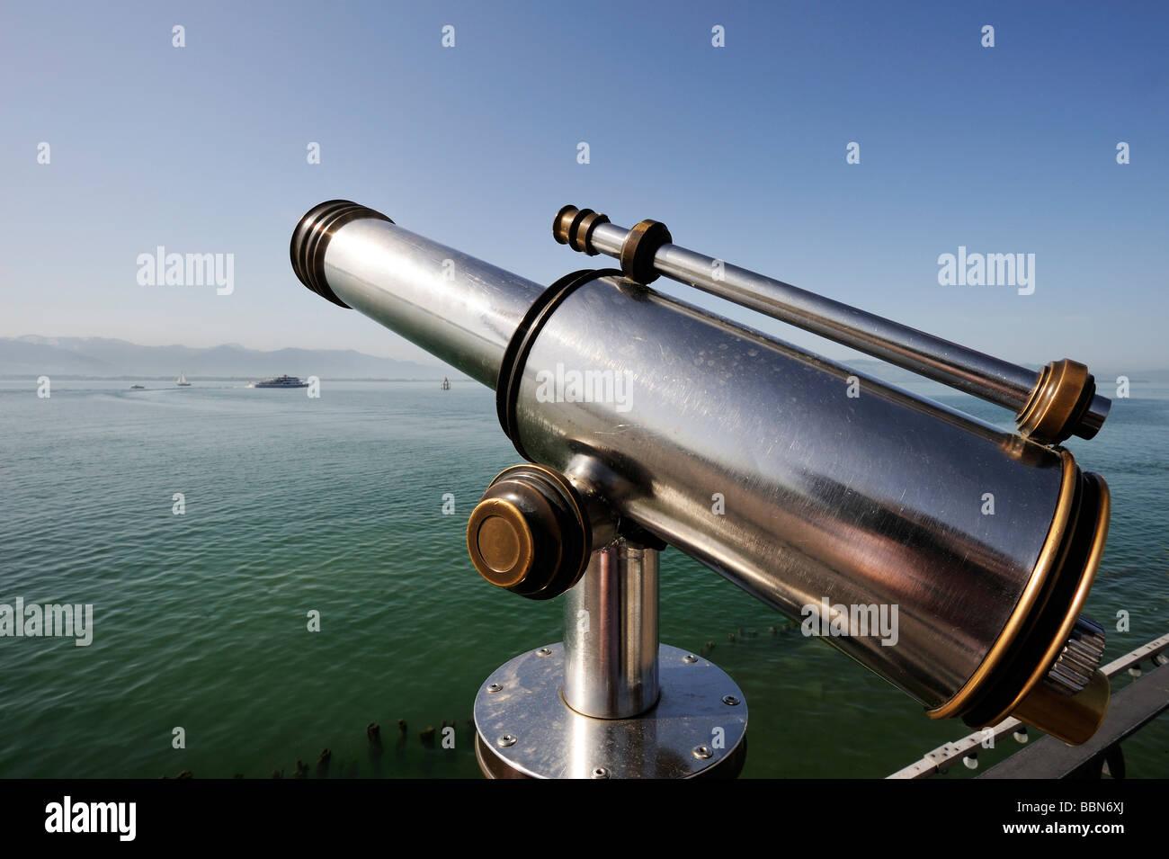Telescope, port of Lindau on Lake Constance, Bavaria, Germany, Europe - Stock Image