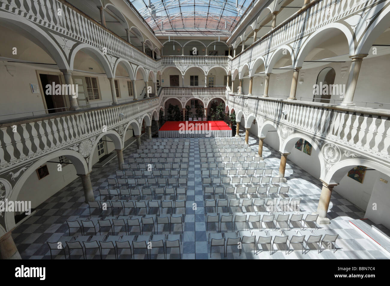 Renaissance arcades and courtyard at the city hall, St. Veit an der Glan, Carinthia, Austria, Europe - Stock Image