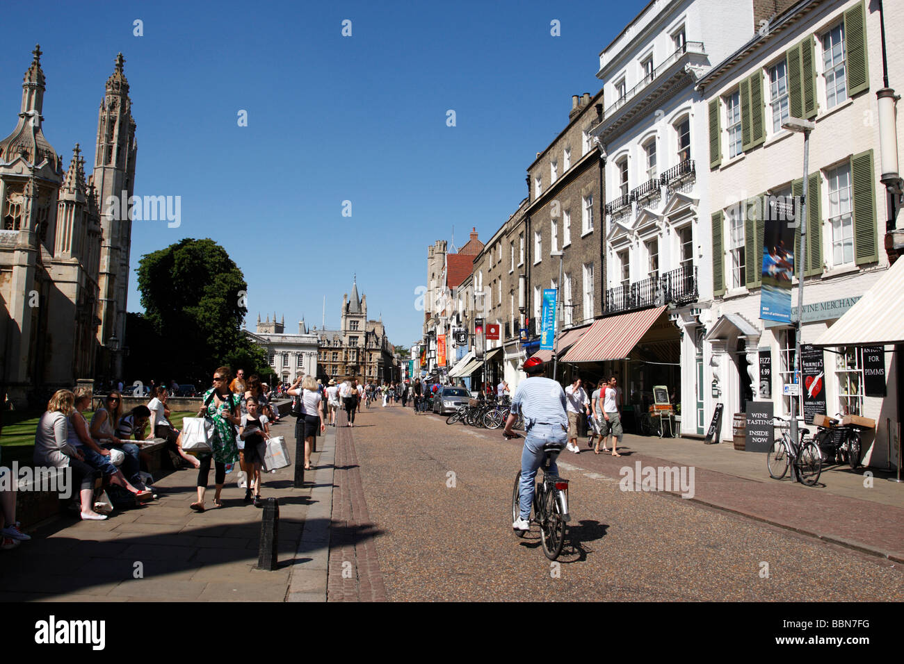 street view of kings parade cambridge uk - Stock Image