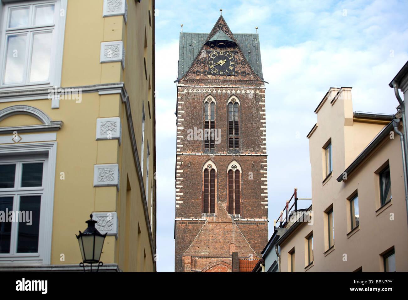 The spire of St. Marien, St. Mary church, Wismar, Mecklenburg-Western Pomerania, Germany, Europe - Stock Image