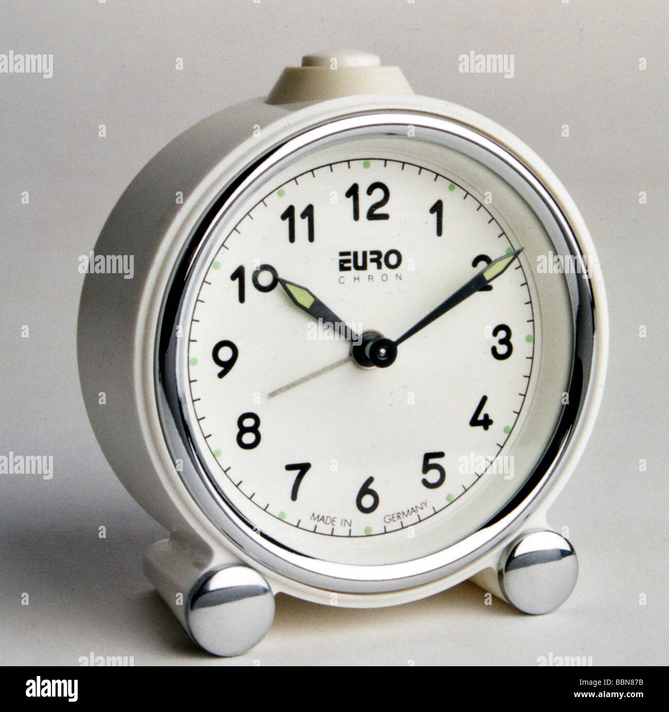 clocks, mechanic alarm clock caliber 62, West Export Version of EUROCHRON brand, made by VEB Uhrenwerke Ruhla, Kombinat - Stock Image