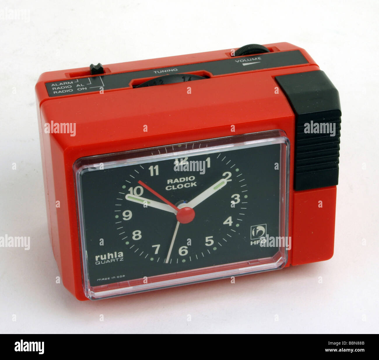 clocks, mobile quartz radio alarm clock RADIO CLOCK, made by VEB Uhrenwerke Ruhla, Kombinat Mikroelektronik, GDR, - Stock Image