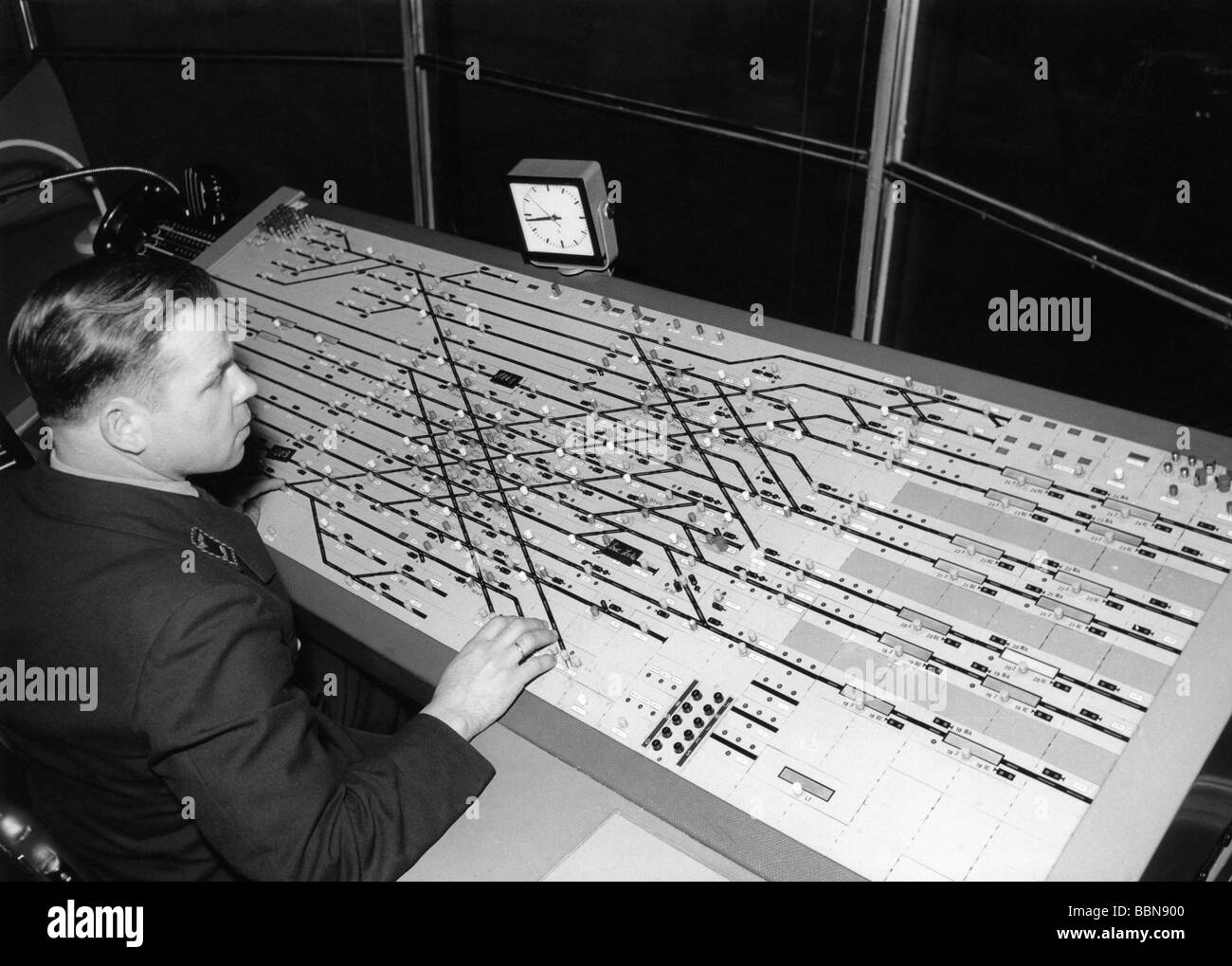 transport / transportation, railway, signal box, interior view, Frankfurt am Main, 1950s, , Additional-Rights-Clearances - Stock Image