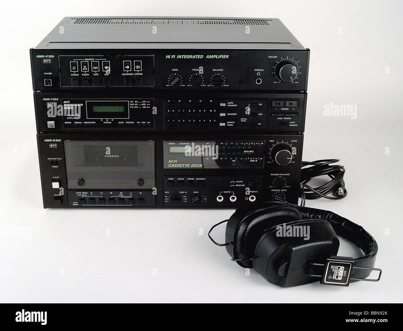 technics, hi-fi, HiFi compenent set HMK 200 with remote control, made by Stern-Radio Berlin, GDR, 1989/1990, historic, - Stock Image