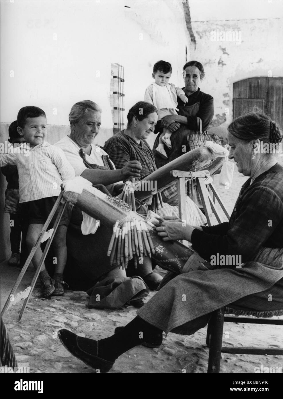 geography / travel, Spain, people, women weaving, 1960s, Additional-Rights-Clearances-NA - Stock Image