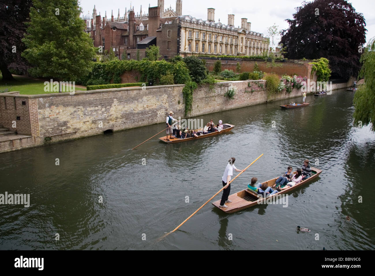 Punts on the River Cam at Cambridge, UK: June 2009 - Stock Image