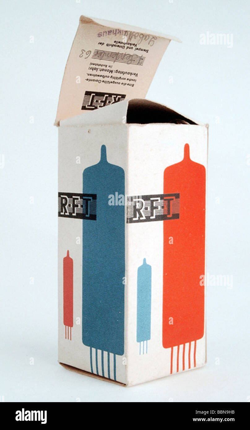 broadcast, accessory, radio tube package, made by RFT, GDR, 1960s, Additional-Rights-Clearances-NA - Stock Image