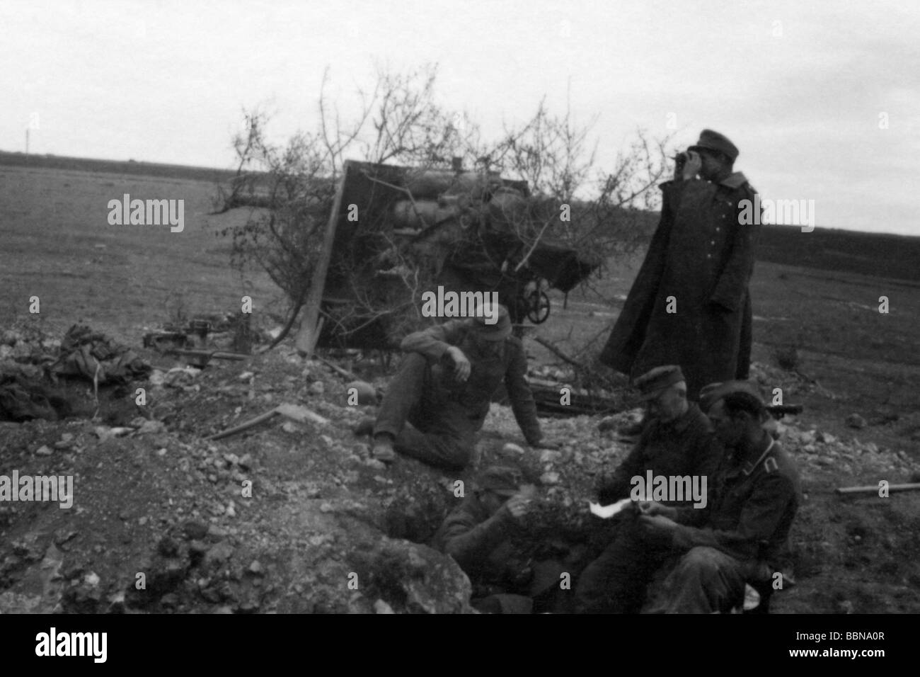 events, Second World War / WWII, Russia 1944 / 1945, Crimea, Sevastopol, German 88 mm anti-aircraft guns Flak 36/37 - Stock Image