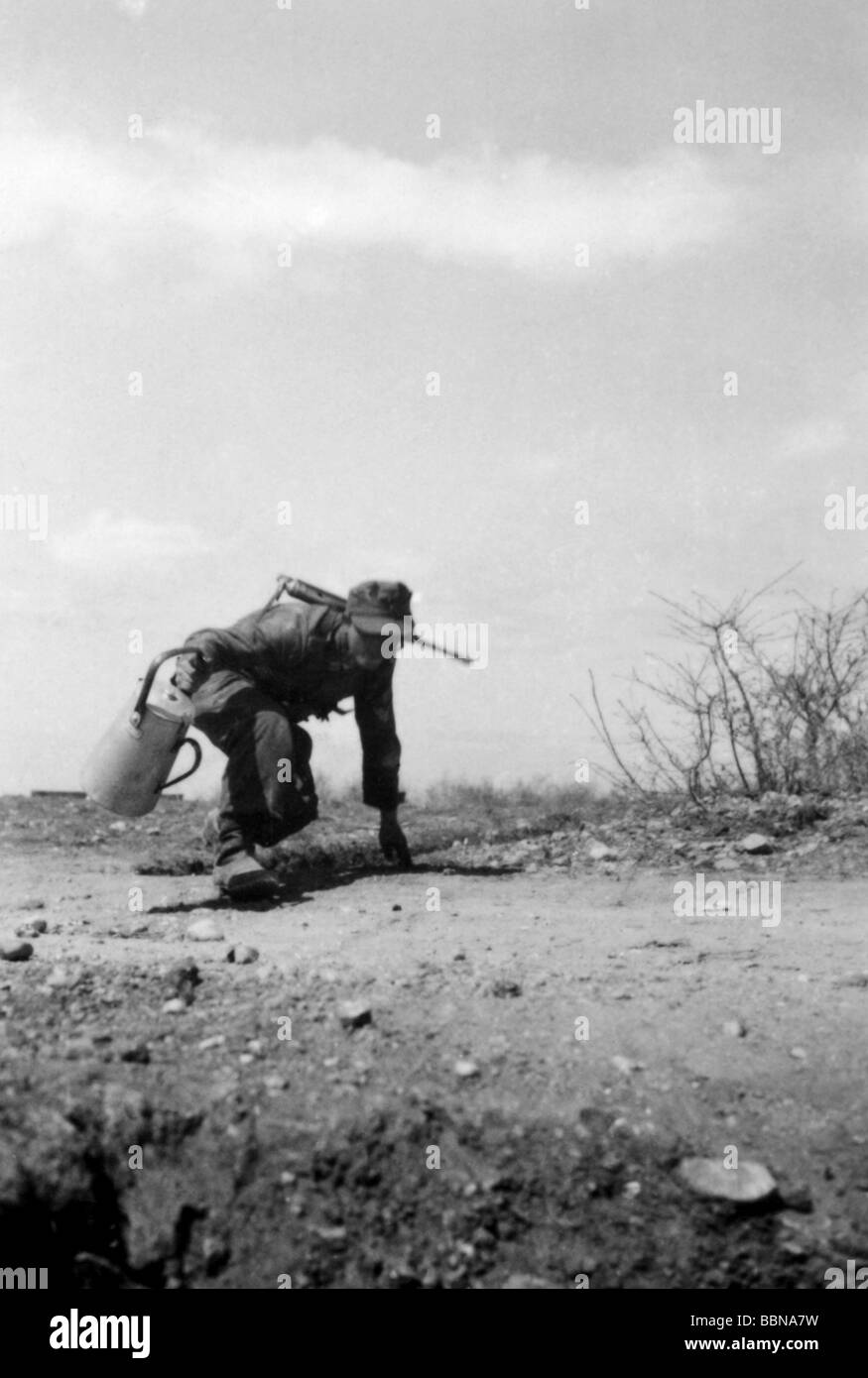 events, Second World War / WWII, Russia 1944 / 1945, Crimea, Sevastopol, German soldier bringing food to his comrades - Stock Image