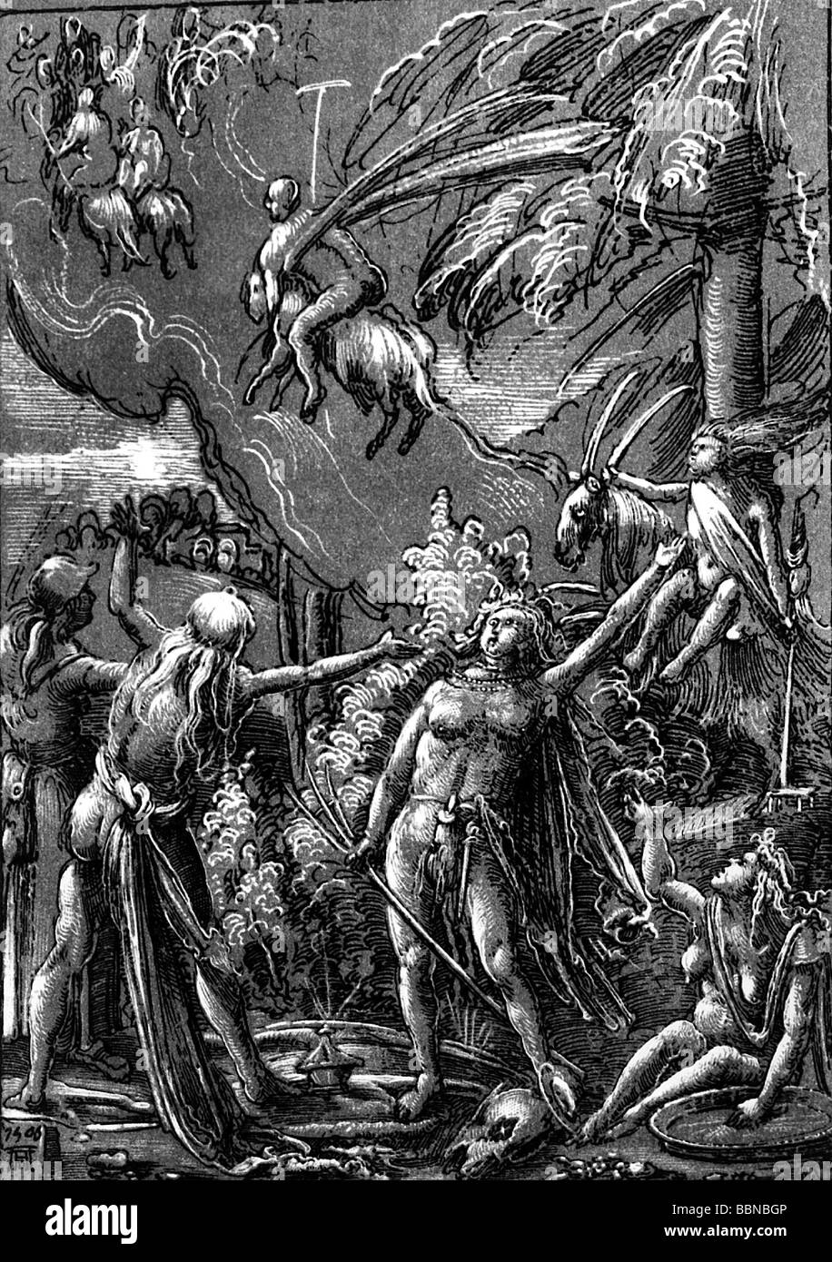 witchcraft, Witches' Sabbath, pen drawing by Albrecht Altdorfer, 1506, Artist's Copyright has not to be - Stock Image