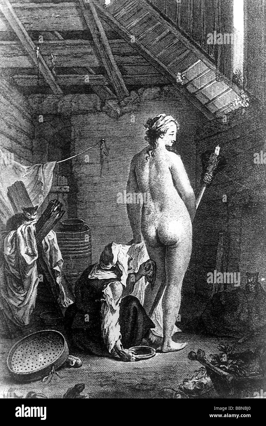 witchcraft, witches, superstition, 'Departure for the Sabbath', copper engraving, by Queverdo, Artist's - Stock Image