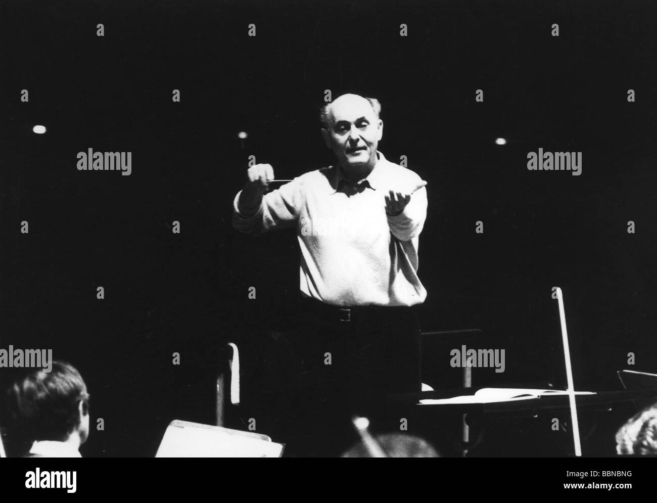 Solti, Georg, 21.10.1912 - 5.9.1997, British conductor of Hungarian origin, half length, during a rehearsal, 1978, - Stock Image