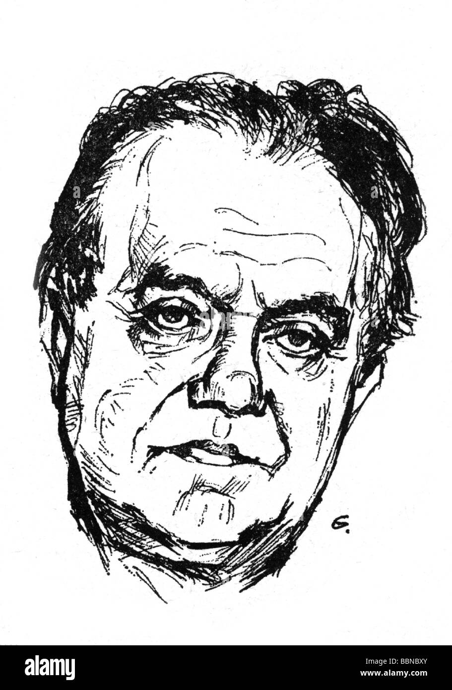 Gerster, Ottmar, 29.6.1897 - 1969, German musician (composer), portrait, drawing by Gäbel, Additional-Rights - Stock Image