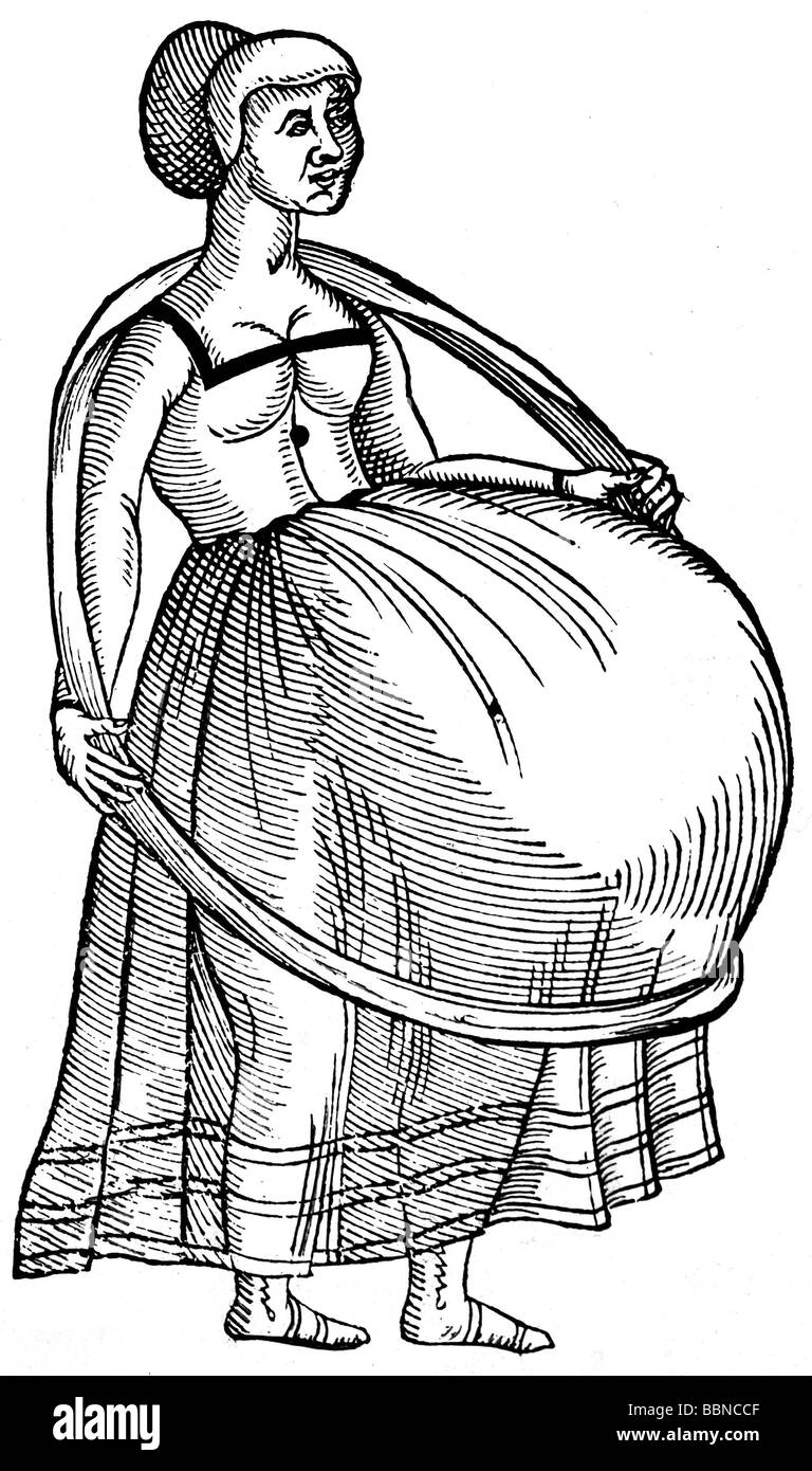 people, women, pregnancy, pregnant woman with strap relieving her belly, woodcut, by Jost Amman (1539 - 1591), from - Stock Image