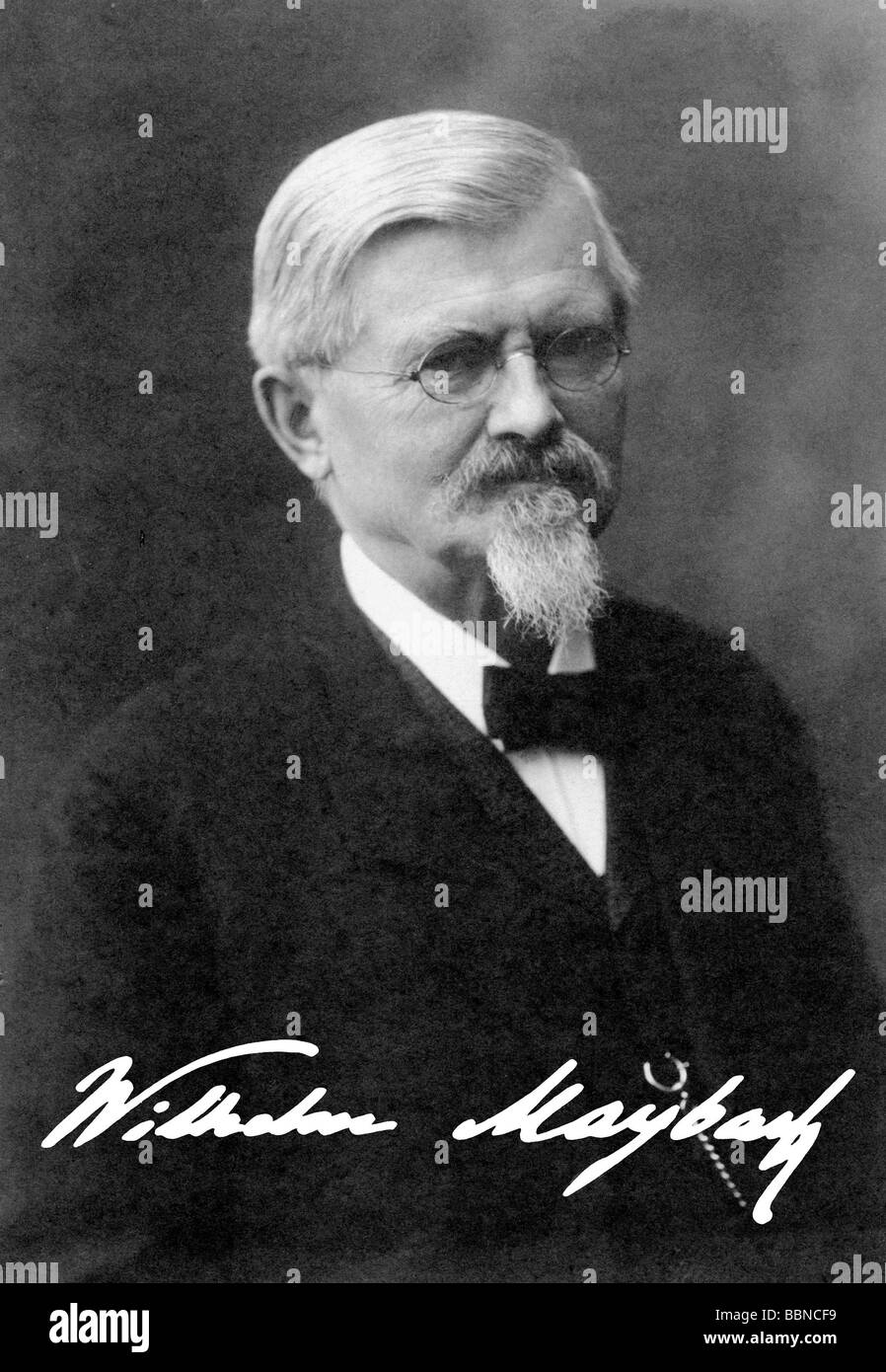 Maybach, Wilhelm, 9.2.1846 - 29.12.1929, German engineer, portrait, photograph with signature, , Additional-Rights - Stock Image