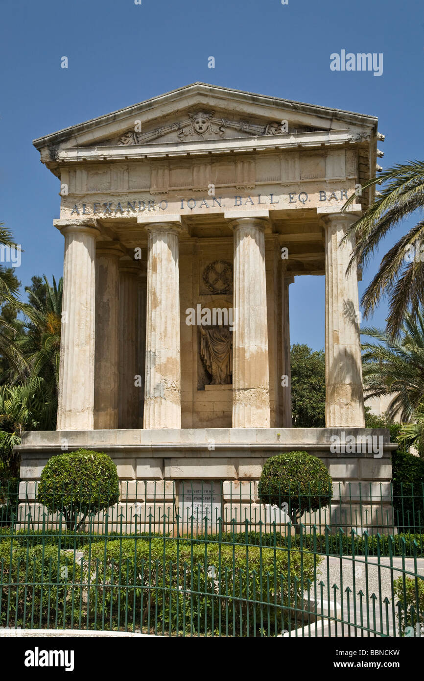 The Greek Style folly in the Lower Barracca Garden in Valletta, Malta, EU. It commemorates Governor Sir Alexander - Stock Image