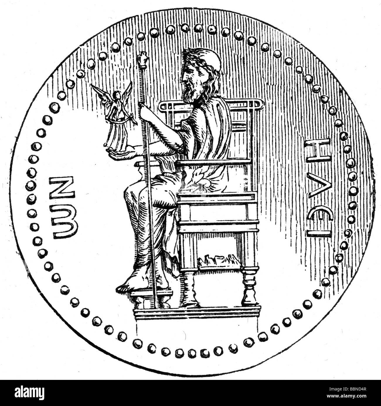 Zeus (Latin: Jupiter), Greek 'divine king', leader of gods, god of sky and thunder, half length, after statue - Stock Image