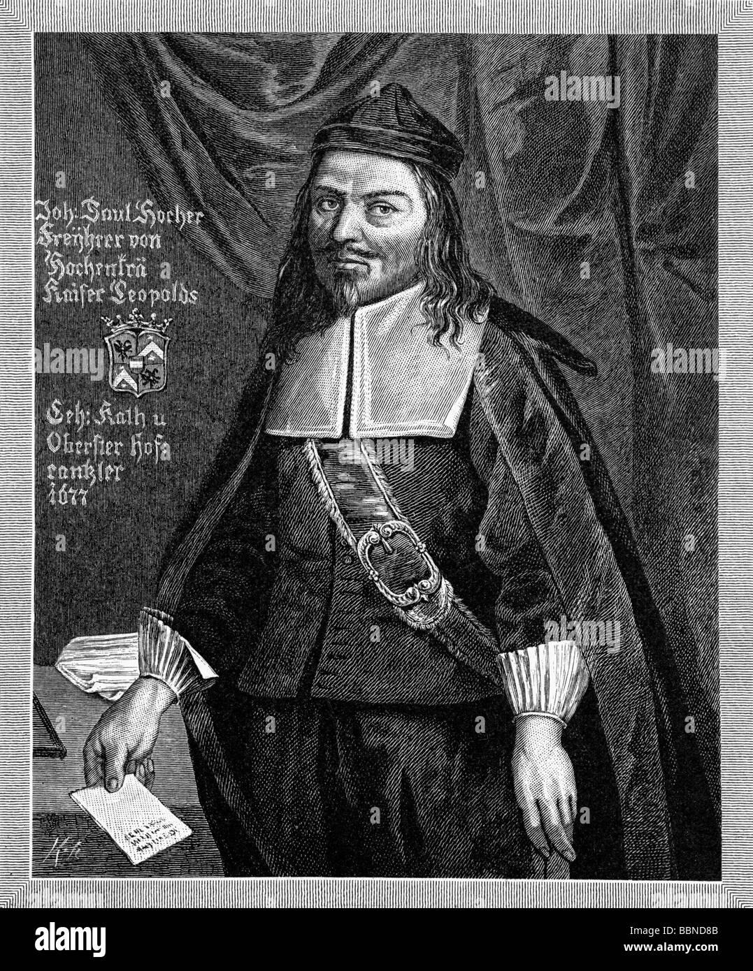 Hocher, Johann Paul Freiherr von Hohenburg, 12.8.1616 - 1.3.1683, Austrian statesman, privy councillor and court - Stock Image