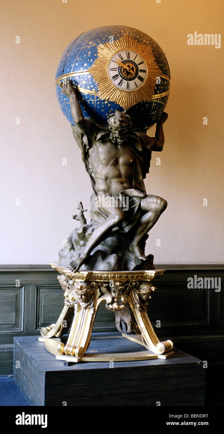 Atlas, Titan, Greek myth figure, carrying earth on his shoulders, statue, University of Rostock, Germany, Additional - Stock Image