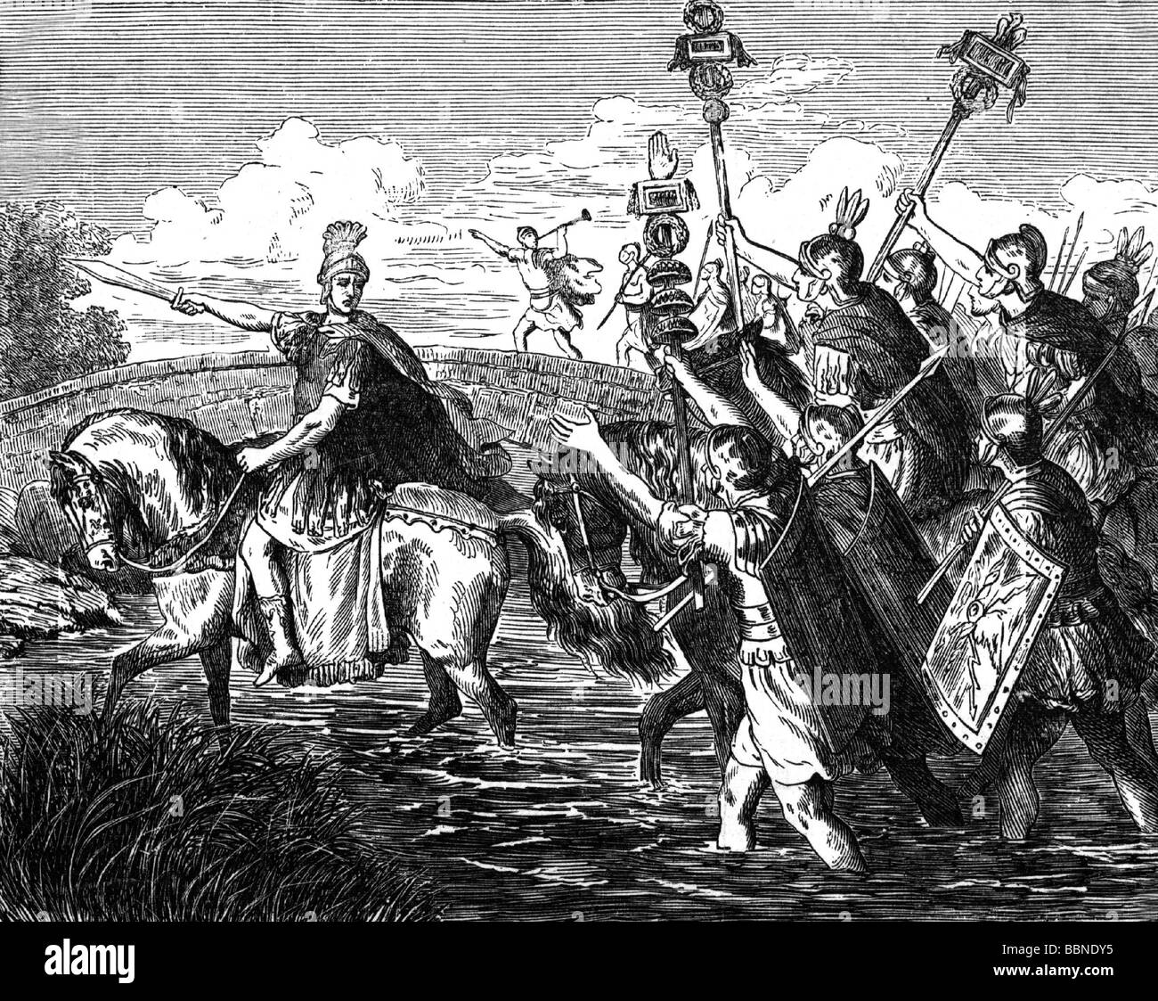 Roman Civil Wars, Caesar's Civil War 49 - 45 BC, Caius Julius Caesar crossing the Rubicon with his troops, 11.1.49 - Stock Image