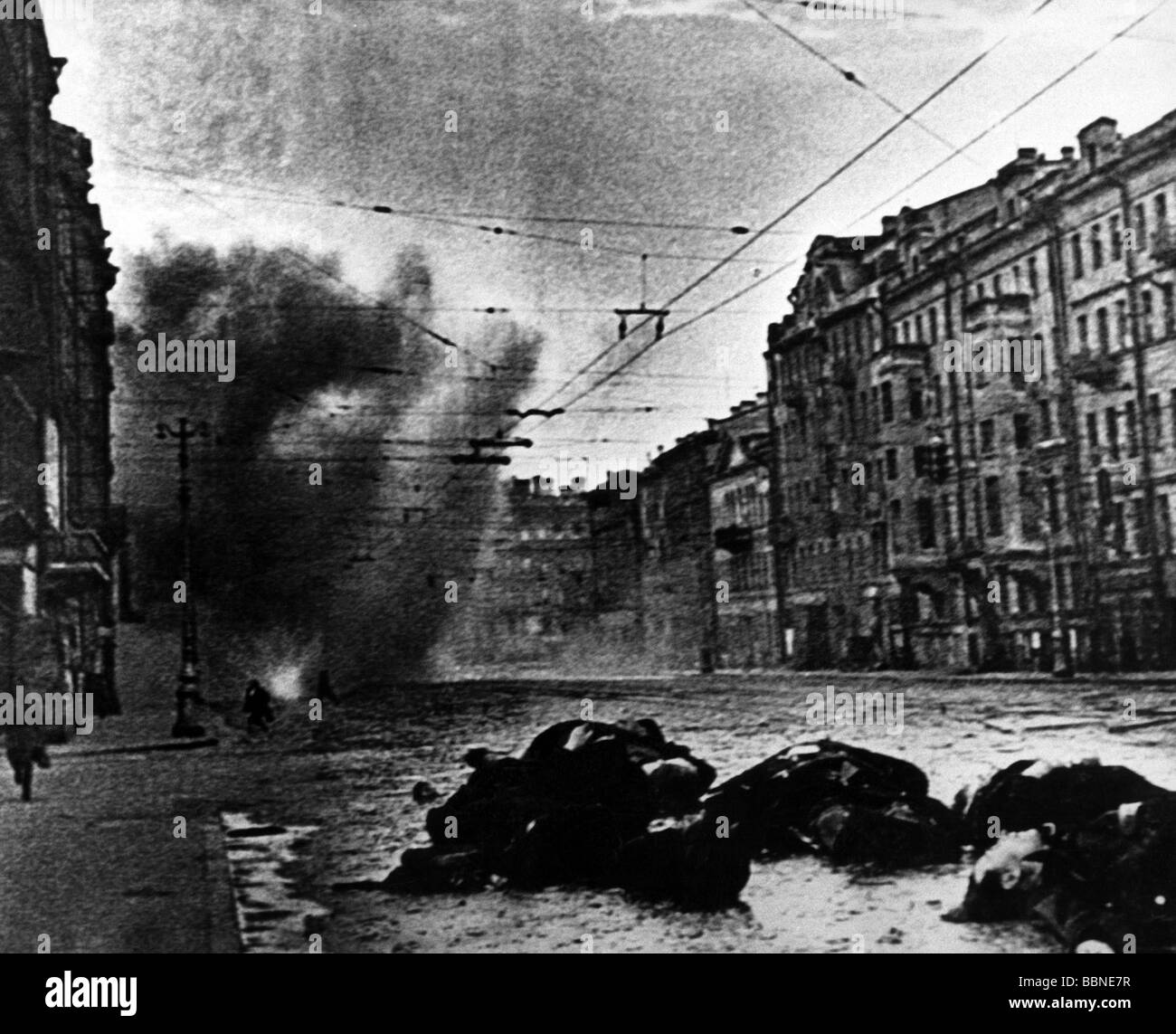 events, Second World War / WWII, Russia, Leningrad, siege, September 1941 - January 1944, German artillery attack, - Stock Image