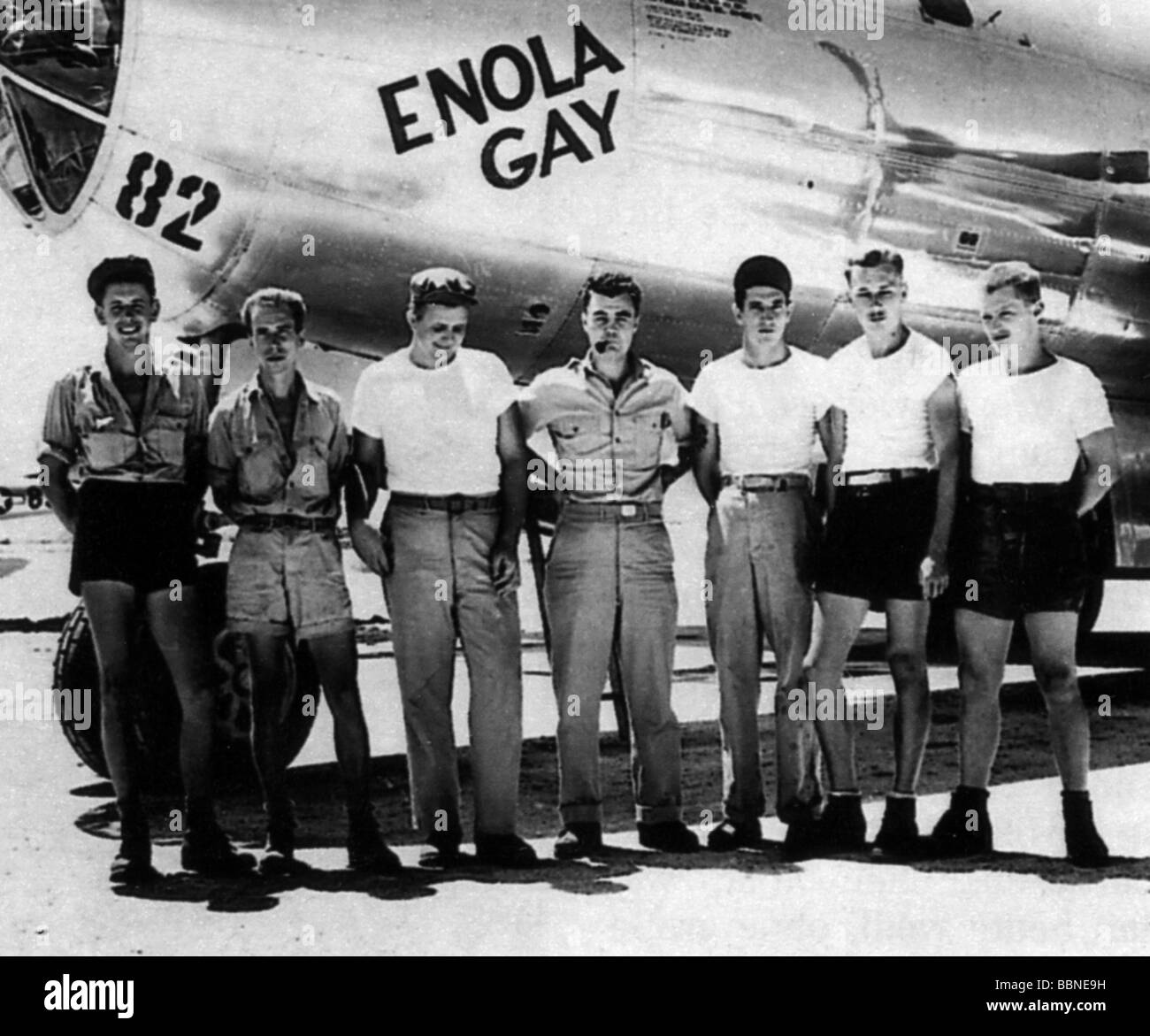 """events, Second World War / WW II, Japan, Atomic bombing of Hiroshima, 6.8.1945, crew of the bomber """"Enola Gay, that Stock Photo"""