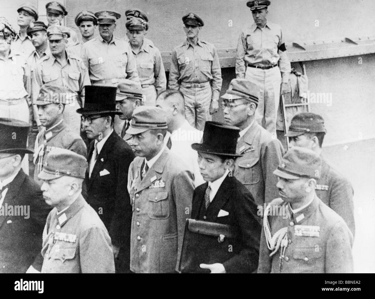 events, Second World War / WWII, capitulation, Japanese delegation on board of the 'USS Missouri', Tokyo - Stock Image