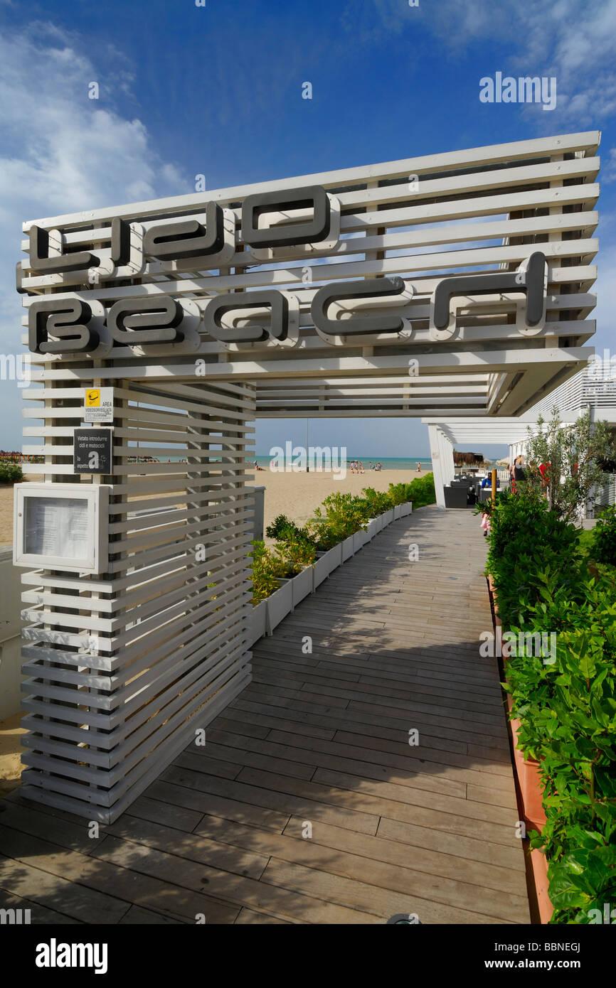 Pescara Italy Beach club, Lido Beach, on Pescara's Adriatic coast - Stock Image