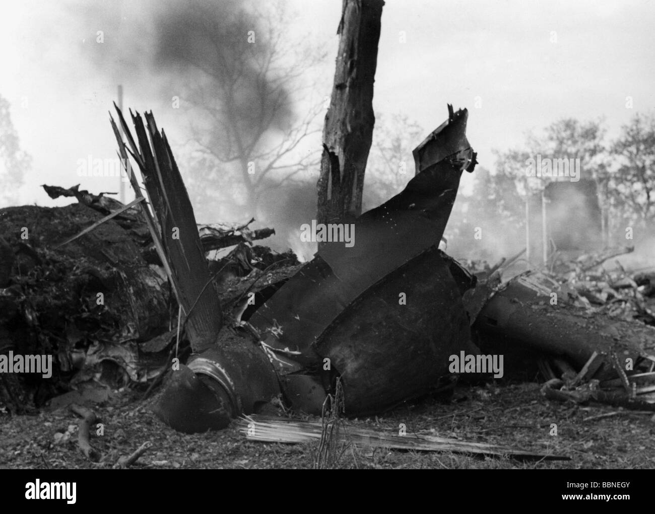 events, Second World War / WWII, aerial warfare, aircraft, crashed / damaged, engine of a shot down British plane, - Stock Image