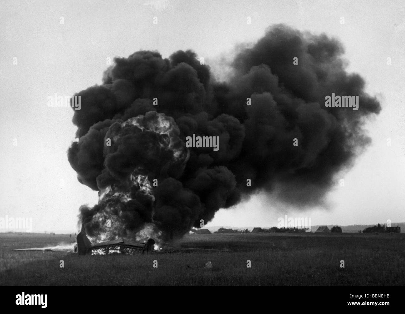 events, Second World War / WWII, aerial warfare, aircraft, crashed / damaged, shot down plane, France, circa 1942, - Stock Image