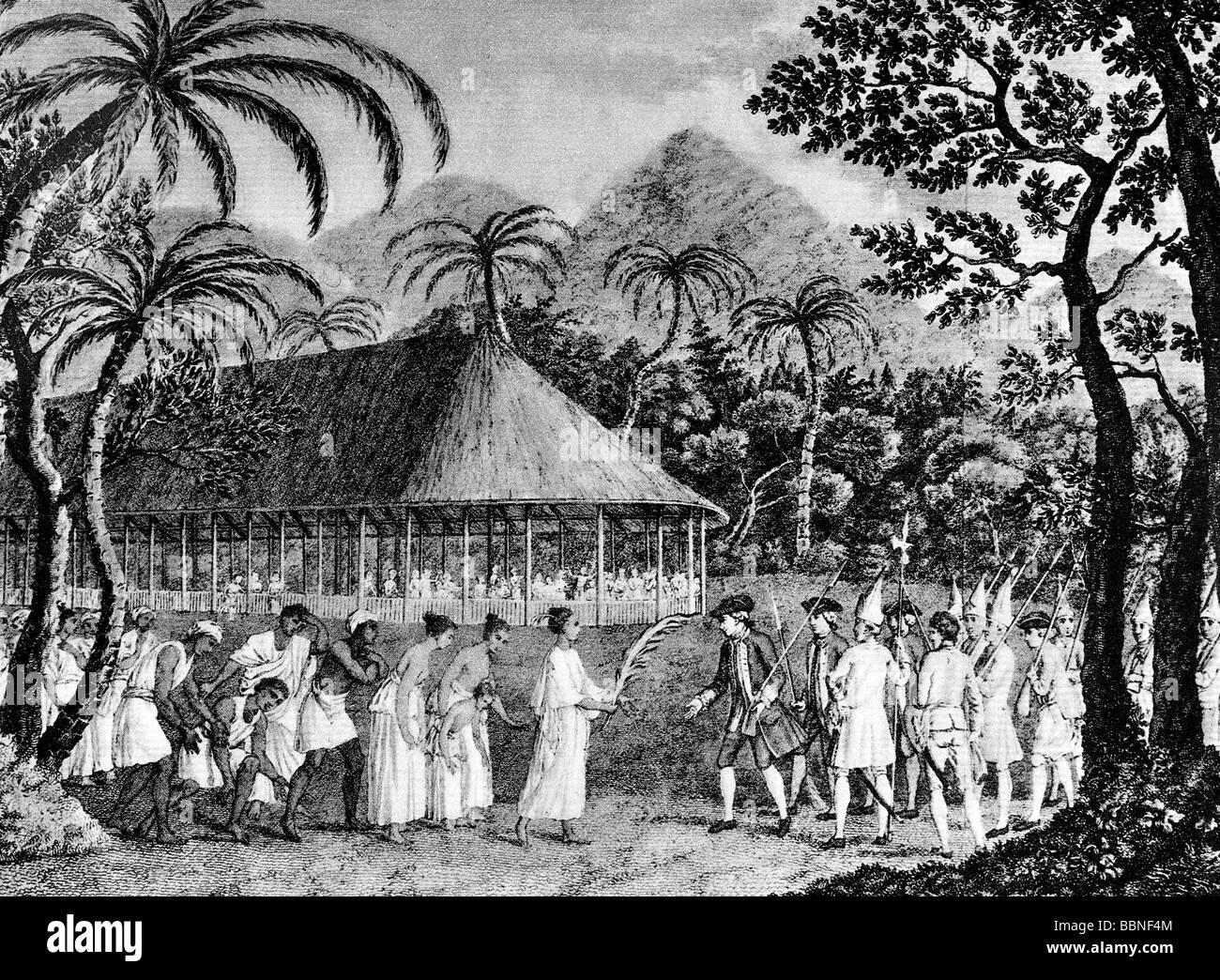 Wallis, Samuel, 23.4.1728 - 21.1.1795, English navigator, landing on Tahiti, 18.6.1767, engraving from 'Account - Stock Image
