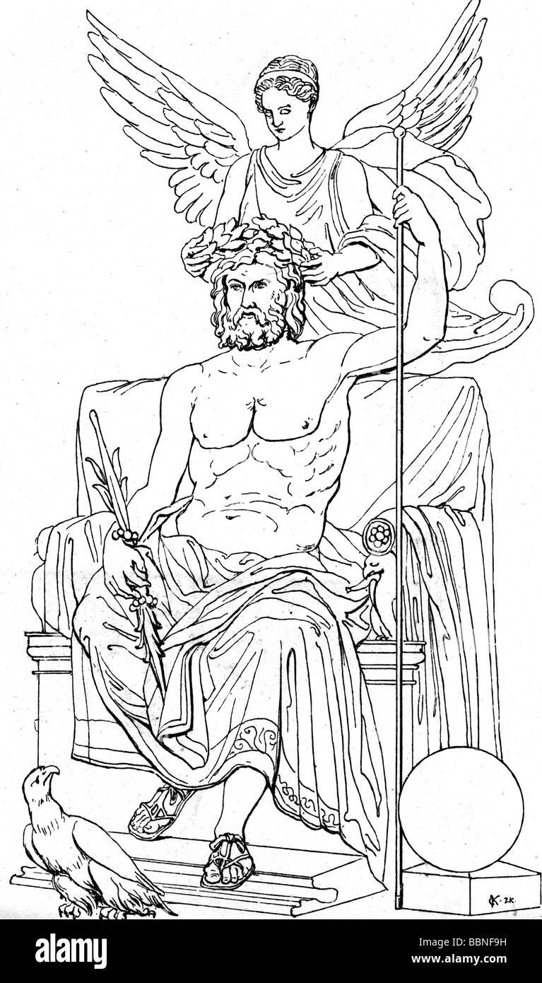 Zeus (Latin: Jupiter), Greek 'divine king', leader of gods, god of sky and thunder, half length, is being - Stock Image