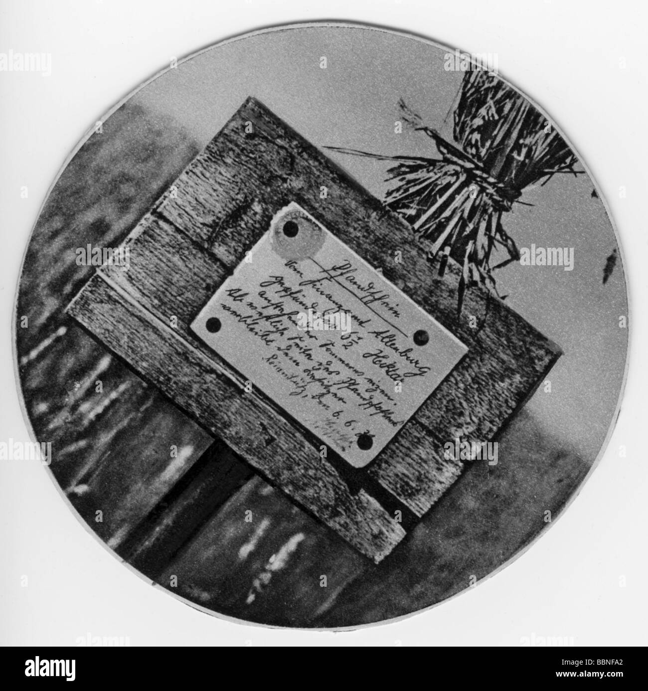 events, Great Depression 1929 - 1933, sign at the edge of a wheat field, garnishment of the corn, Altenburg tax - Stock Image