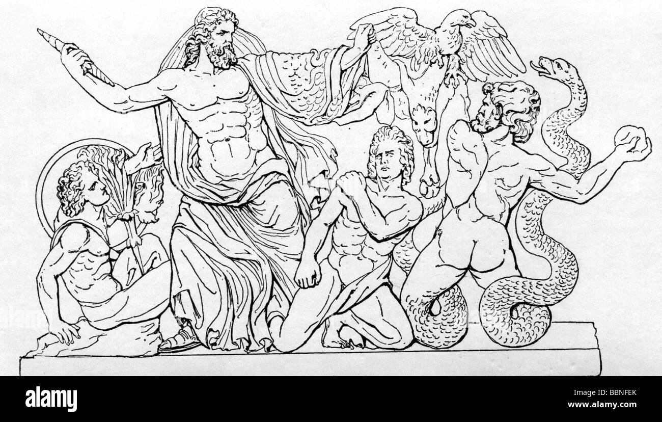 Zeus (Latin: Jupiter), Greek 'divine king', leader of gods, god of sky and thunder, scene, drawing after - Stock Image