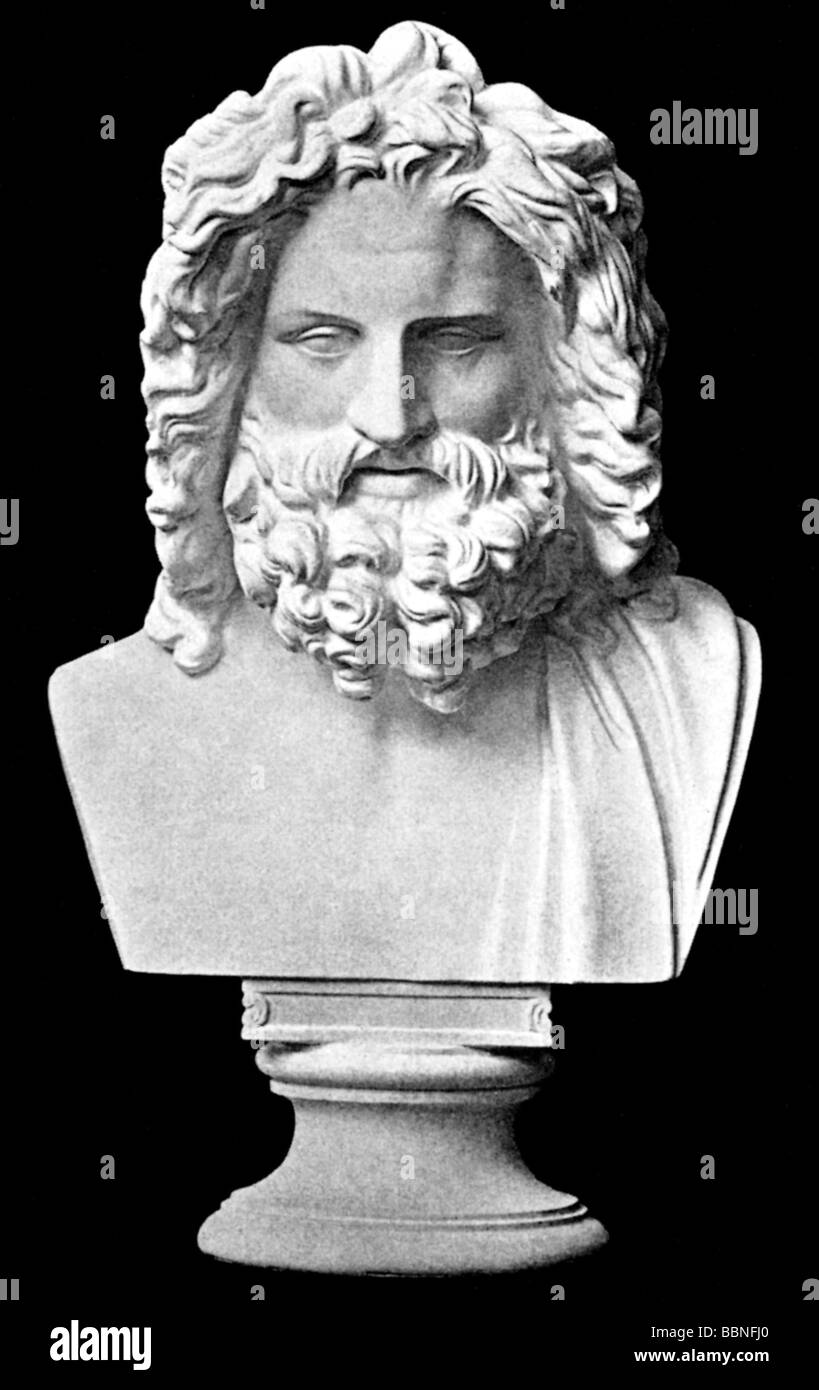 "Zeus (Latin: Jupiter), Greek ""divine king"", leader of gods, god of sky and thunder, portrait, ""Zeus of Otricoli"", Stock Photo"