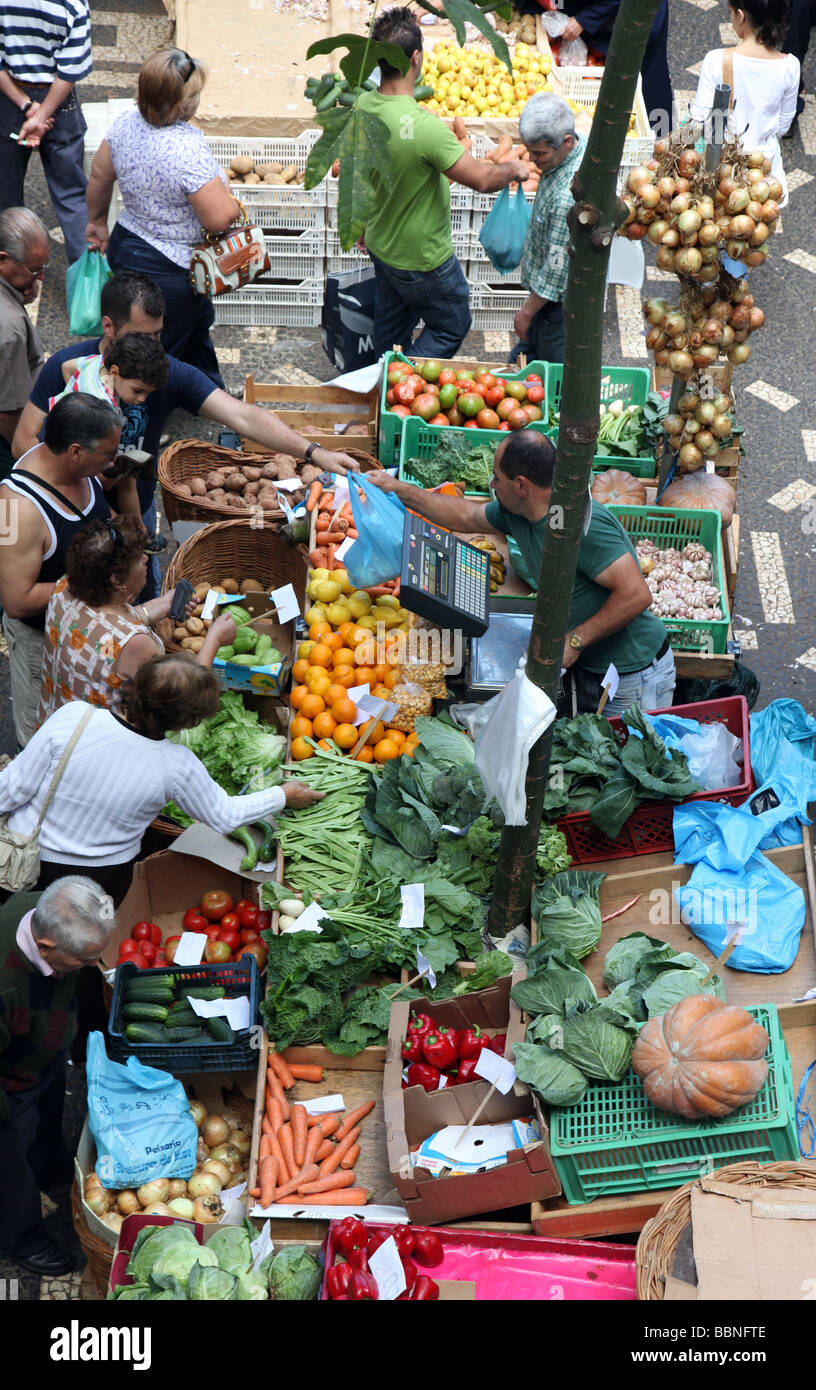 vegetable market Funchal Old Town Madeira - Stock Image
