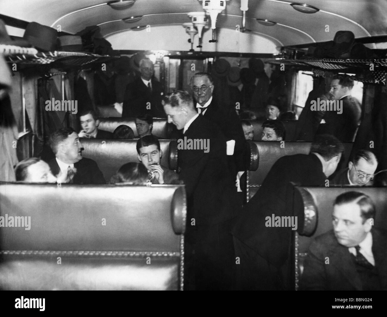 transport / transportation, railway, waggons, passenger  car, interior, tet run of Danish State Railroad, 1930s, - Stock Image