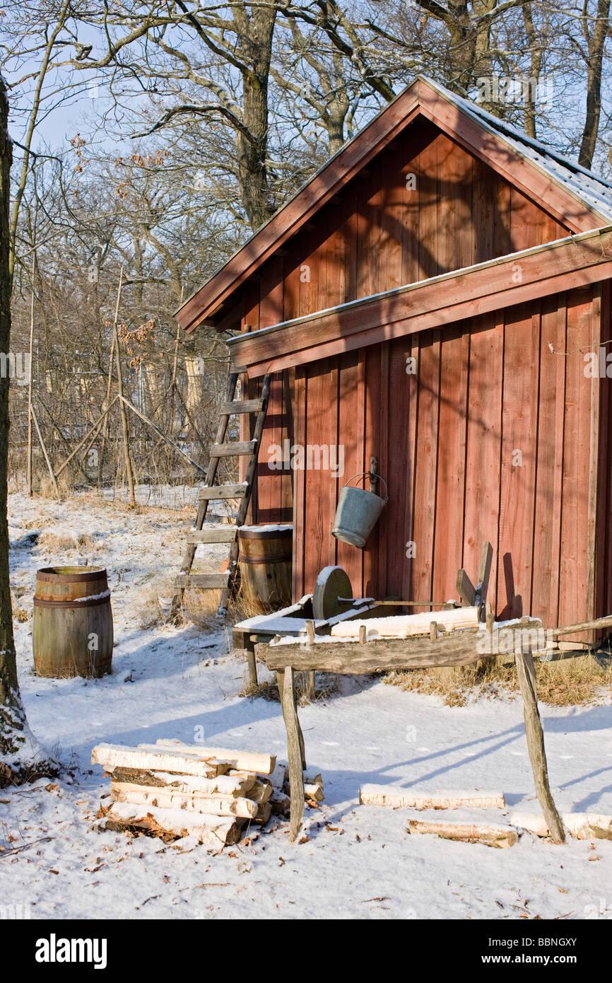 Farm Labourer's Cottage, Skansen, Stockholm (Sweden) - Stock Image